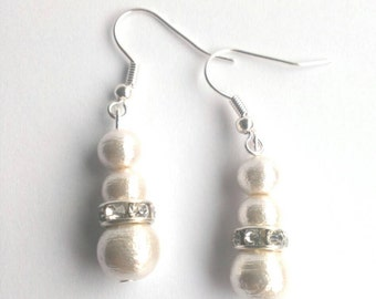 Cotton Pearl Earrings, pearl earrings, pearl silver earrings, round pearl earrings,bridal pearl earrings, pearl earrings wedding