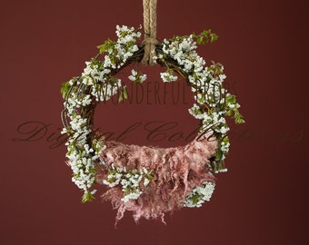 Natural and Red Hanging Swing - Digital Backdrop - Photo Prop for Newborn Photography