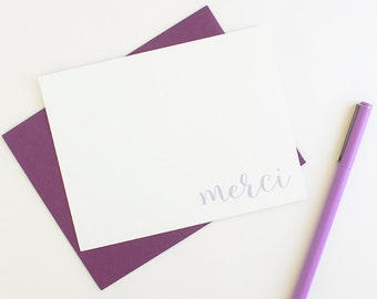 Thank You Notes // Thank You Card Set // Calligraphy Stationery // Custom Stationery // French Stationery // Merci Note Card