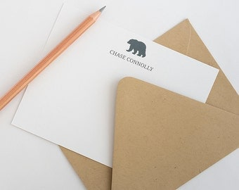 Personalized Stationery - Set of 10 Note Cards // Bear Stationery // Bear Note Cards // Boy's Stationery // Men's Monogrammed Note Cards