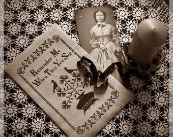 Remember Me / Primitive cross stitch pattern