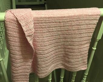 Pink & White Soft Crochet Baby Blanket / Pink Baby Blanket / Pink Crochet Blanket / Baby Blanket / Girl Baby Blanket / Girl Blanket