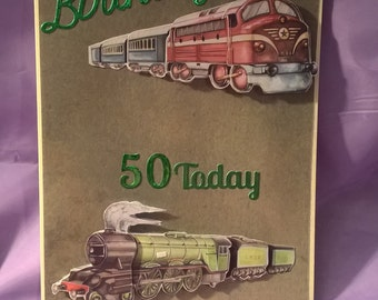happy birthday 50 today train card,suitable for any train enthusiasts , a name, different age or  family member can be added if required