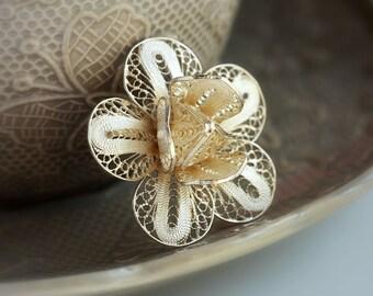 filigree brooch, silver brooch, flower brooch, byzantine brooch, greek brooch, filigree jewelry, greek jewelry, byzantine jewelry, greek