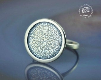 Phaistos Disc silver ring, antique ring, Phaistos Disc, greek ring, phaistos disk, ancient ring, greek jewelry, Phaistos, best gift for wife