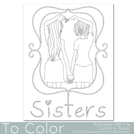 Items similar to Sisters Coloring Page for Grownups ...