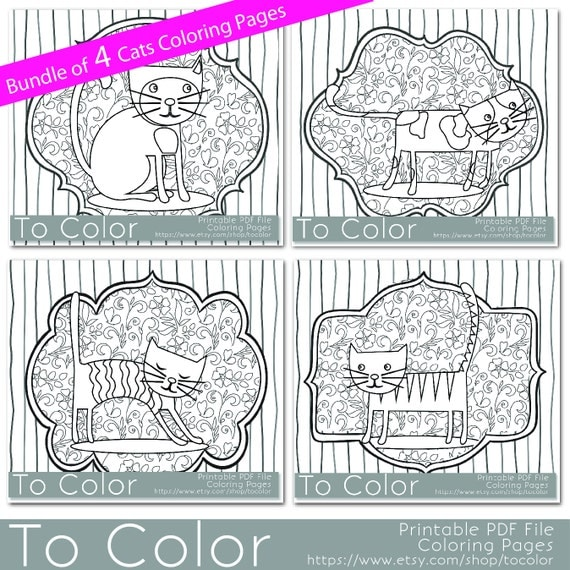 Items similar to Printable Whimsical Cat Coloring Page for ...