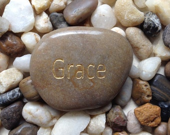 Engraved Stones / River Rocks with Inspirational Words - Gifts or Paper Weights - GRACE