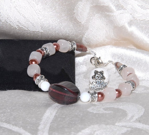 Genuine Rose Quartz, Jasper & Jade Bracelet with Silver Accents and a Lava Stone Bead for Aromatherapy with Essential Oils. AB051 FB027