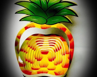 vintage pineapple collapsible bowl large spiral cut wood composite standing bowl with plastic overlay