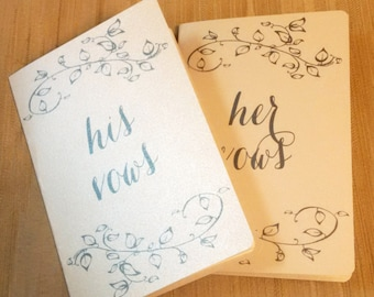 His / Hers Vow Cards - Silver Shimmer
