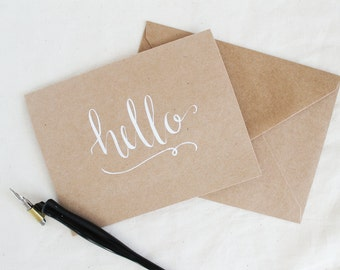 Set of 10 Small Cards - 10 Pack of Cards - Hello Card - Just Because Card - Calligraphy Card - Modern Calligraphy - Brown and White Card