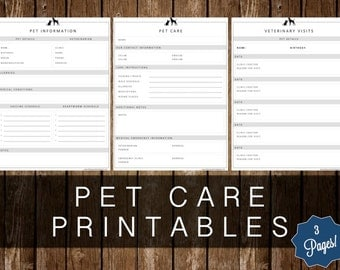 PET CARE PRINTABLES - 3 Page Kit - Instant Download!