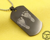 New Born Baby Foot Print engrave handprint chain necklace, gift for new give birth mother,steel army dog tag style, 6 colors avail