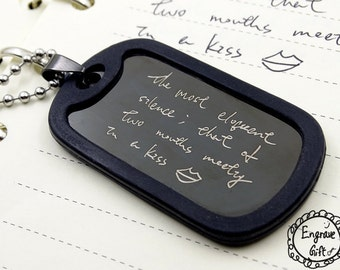 Necklace for men, handwriting, handwritten necklace, key chain, dog tag, gift for him, personalized necklace, personalized jewelry