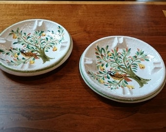 Pair of Vintage Italian Ashtrays/Faience/Mid Century/Partridge in a Pear Tree/Hand Painted