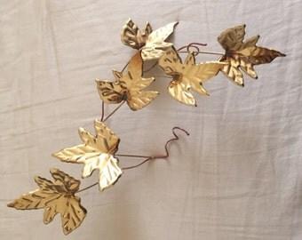 Vintage Brass Leaf Wall Decor