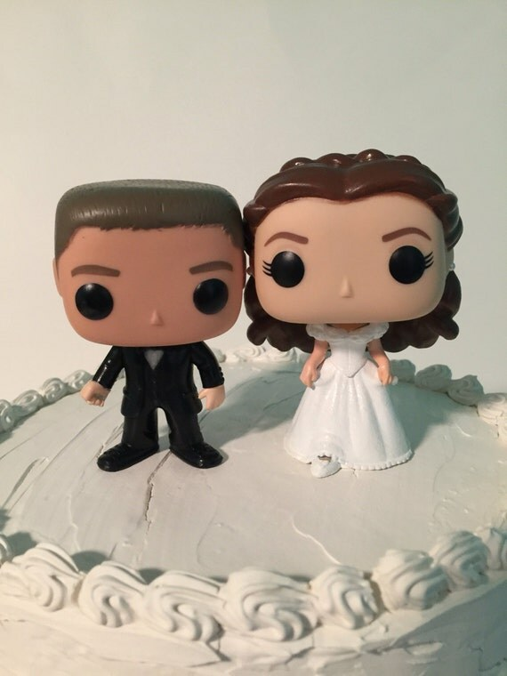 Custom Funko Pop Brundette Bride With Long Hair And Groom