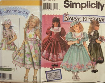Two Uncut Daisy Kingdom By Simplicity Girl's Sizes 7-10, and 3-6