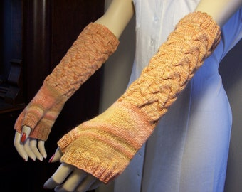 Elbow length Cable Fingerless Gloves in peach wool hand knitted