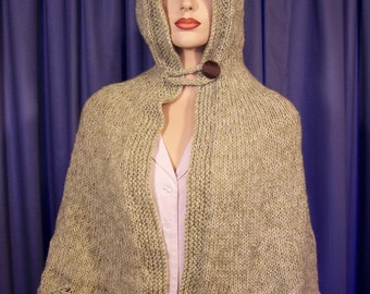 Green Cape with Hood hand knitted
