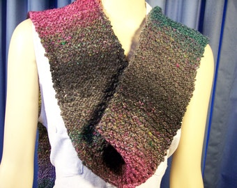 Silk and wool scarf hand knitted