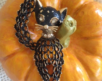 Vintage Kitty Cat Pin Brooch Mamselle signed