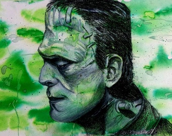 Original Frankenstein Artwork-Mixed Media Wall Art