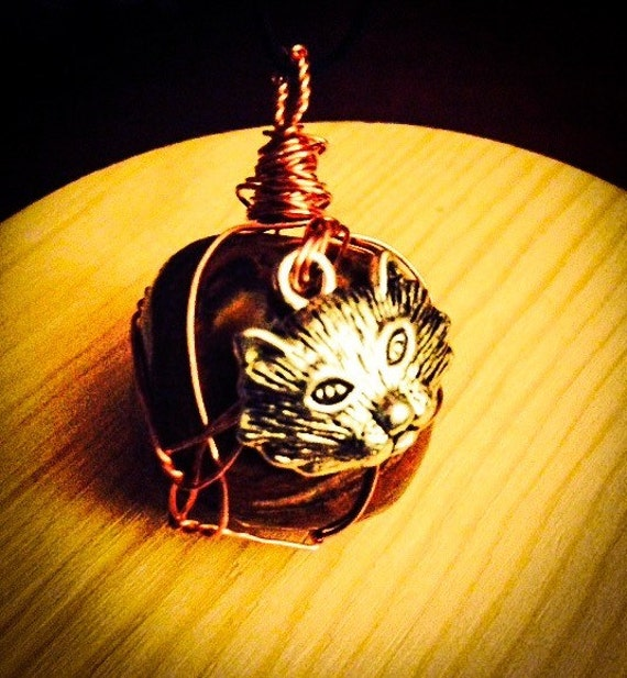 Cat Charm Tiger's Eye Healing Bohemian Pendant Wire Wrapped