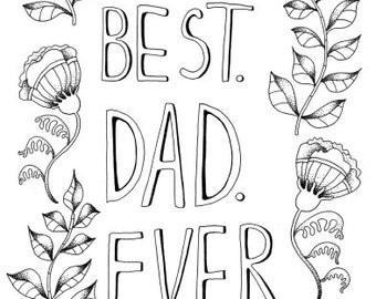 fathers day printable coloring page best dad ever printable fathers day gift gift for dad printable gift diy fathers day greeting