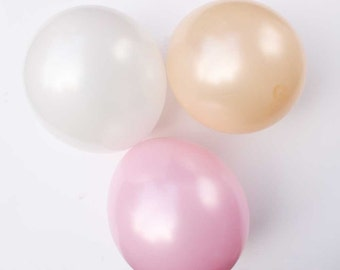 "Pastel pearl latex balloons - 11"" - Set of 6. Pastel pink, peach, and white pearlized latex balloons.  Soft pastel balloon.  Girl's balloons"