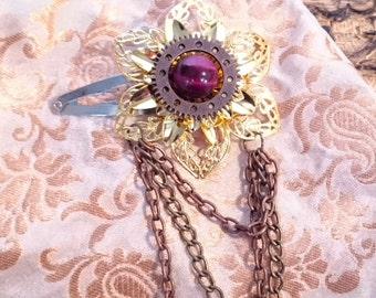 gold flower steampunk hair accessory fascinator