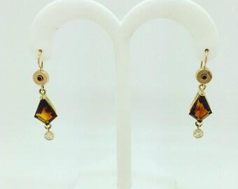 14kt Yellow Gold, Garnet, Citrine, Diamond dangle Earrings