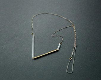Minimalist Bar Necklace | Brass Tube | Contemporary