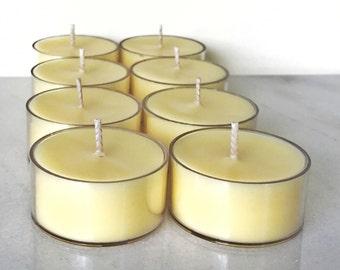 Beeswax & Coconut Oil Tea Light Candles - 100% beeswax - coconut oil - natural beeswax - natural bees wax - beeswax tealights - bees wax