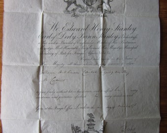 Antique passport, British passport, Victorian passport 1876. One sheet, thin paper signed Earl of Derby, Sec State Foreign Affairs. Ephemera