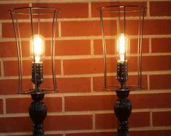 """OOAK """"Double Caged""""Pair of Table Lamps, Steampunk, Edison Style Bulb"""
