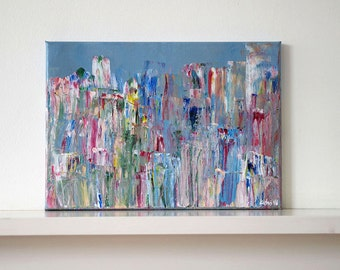 Rainy Day III. Original abstract painting, acrylic on canvas. A4 abstract contemporary modern painting. Small wall art.