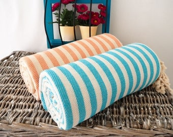 Set of 2 Striped Turkish Towel,Stireped Beach Towel,Natural  Cotton Towel,Striped Peshtemal Towel,Striped Peshtemal,Striped Bath Towel