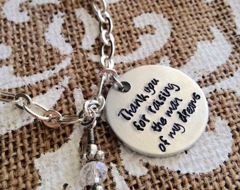 Mother in law bracelet / Thank you for raising the man of my dreams / Future mother in law / Wedding day present / Mother of the groom gift