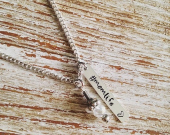Hashtag Momlife hand stamped necklace / Clear bead charm / Gifts for mom / For her / Funny jewelry / Mom Life / Life with kids / Mothers Day