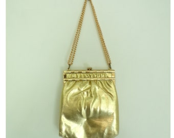 60s Metallic Gold Shoulder Bag  & Coin Purse, Oblong Gold Purse, Small Gold Bag, Clasp Top Adjustable Chain Handle Mid-century evening bag