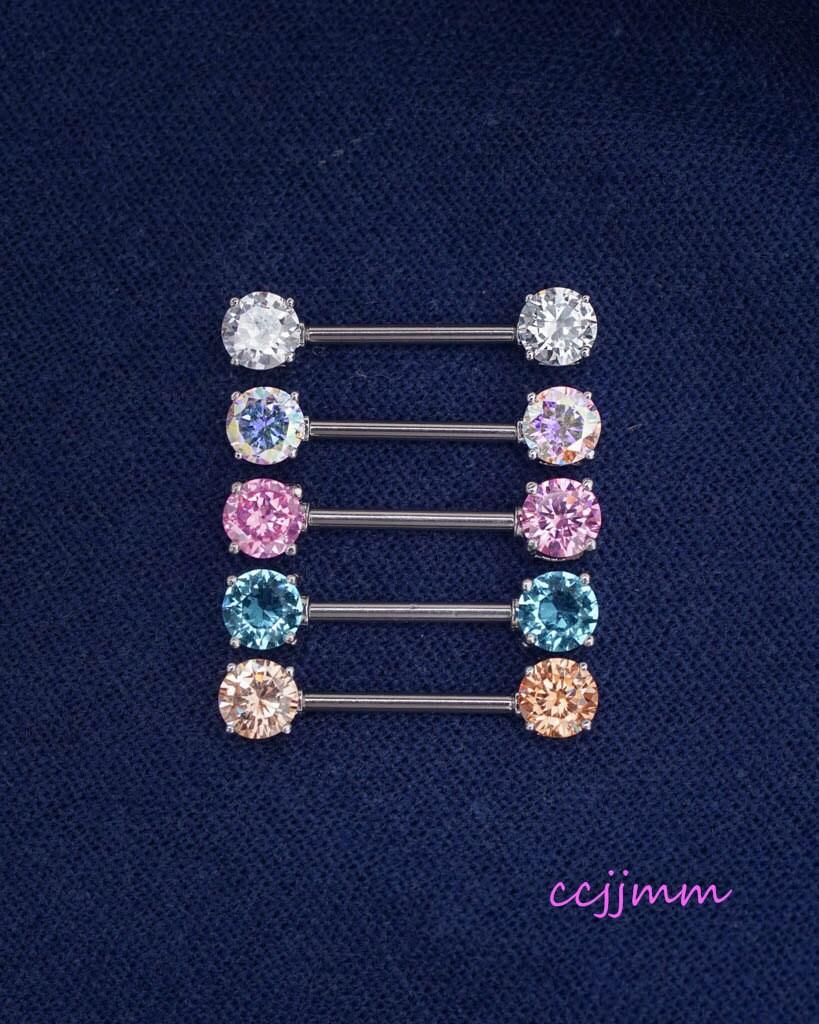 Nipple ring nipple piercing nipple jewelry 14g simple by for Pierced nipple stretching jewelry