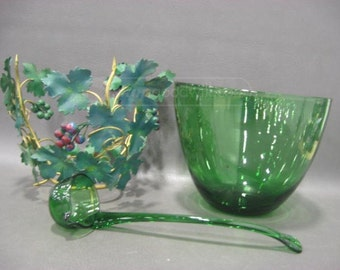 9 pc. Green Glass Punch Bowl and Cups