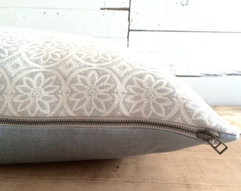 """Moroccan Tile, linen pillow with feather filling, Size: 22"""" x 22"""