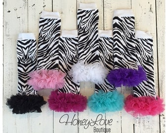 Zebra Print - Black and White - leg warmers with chiffon ruffles, legwarmers, stockings, animal print leggings, baby girl infant toddler