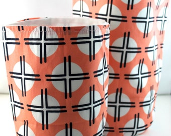Set of 2 Coral and Crosses Clay Fabric Storage Tote Bins