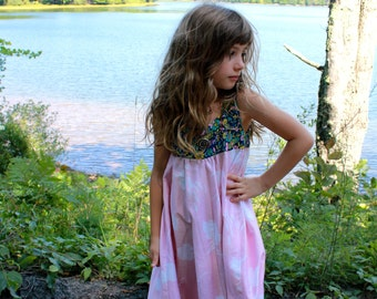 HANDMADE Dress 60s VINTAGE Textiles Size 3T Girls Toddler Upcycled Floral Print Vintage Long Country Style Dress