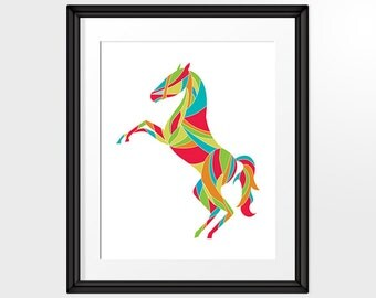 Candy Coloured Horse Art, Abstract Art, Geometric, Poster, Horse Print, Room Decor INSTANT DOWNLOAD