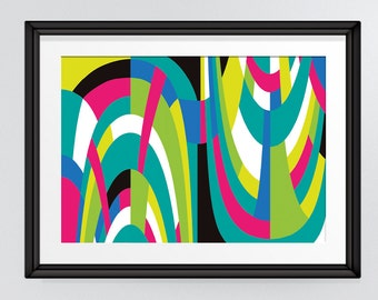 Brightly coloured curves abstract design, Modern Printable Art, Living Room or Office Decor, INSTANT DOWNLOAD